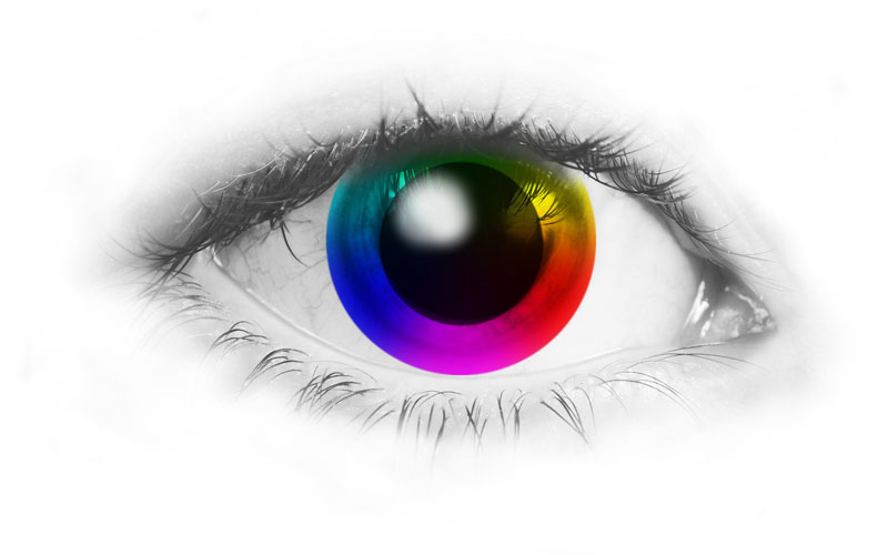 eye with color wheel