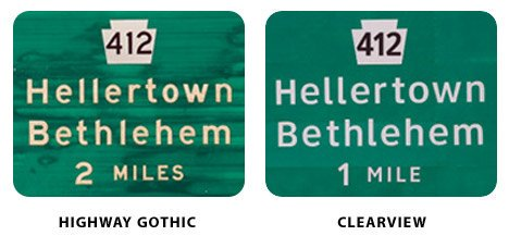 comparison of Highway Gothic and Clearview